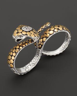John Hardy Dot Sterling Silver & 18k Gold Cobra Diamond