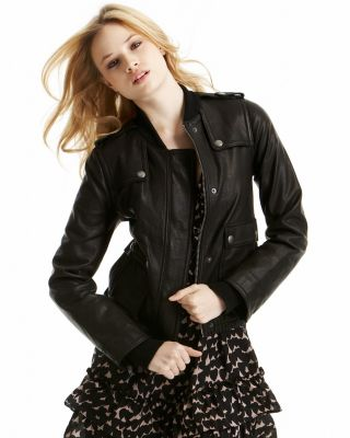 Juicy Couture Leather Jacket with Ribbed Cuffs