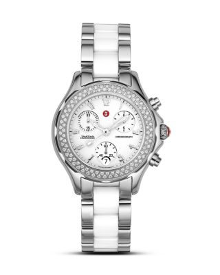 """Michele """"tahitian"""" Stainless Steel Ceramic Watch With"""
