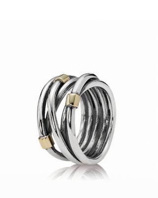 PANDORA Ring  Sterling Silver  14K Gold Rope  Bloomingdales