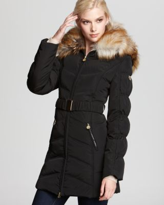 Laundry Shelli Segal Quilted Belted Coat With Faux Fur