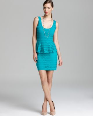 Aqua Peplum Dress - Knit Eyelet Sleevless Bloomingdale'