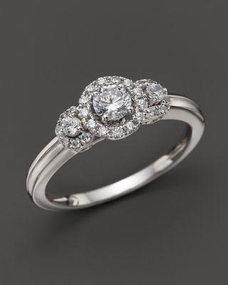 Diamond Three Stone Promise Ring in 14K White Gold, .50 ct
