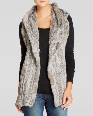 America Vest - Knitted Rabbit Fur Hooded Bloomingdale'