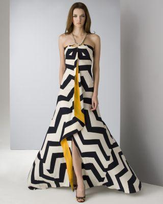 Diane von Furstenberg Women's Chevron Scarf Gown
