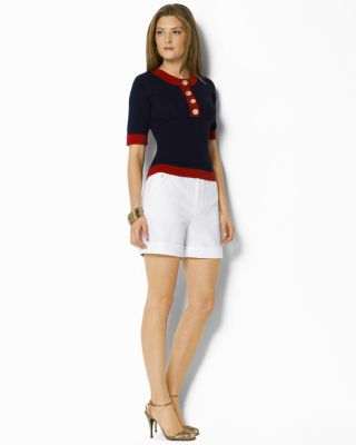 Lauren by Ralph Lauren Maro Button Crewneck and Margate Cuffed Short with Gold Buttons