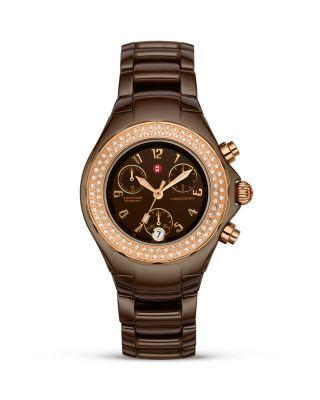 Michele Ceramic Watch Rose Gold