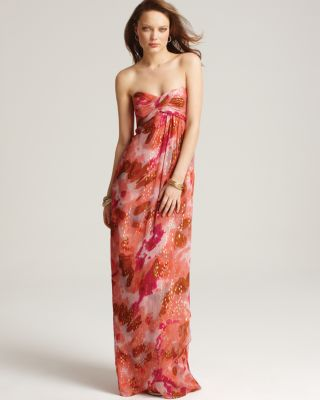 Nicole Miller Sweetheart Strapless Foil Printed Gown
