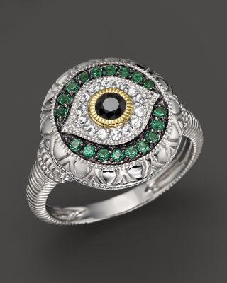 Judith Ripka Sterling Silver Evil Eye Ring With Black And