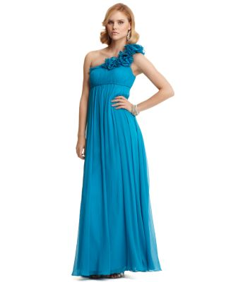 Aqua Long Chiffon One-Shoulder Dress