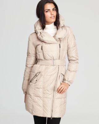 Add Down Shawl Collar Belted Coat