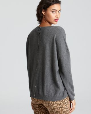 Aqua Cashmere Sweater - Snap Pullover With Pockets