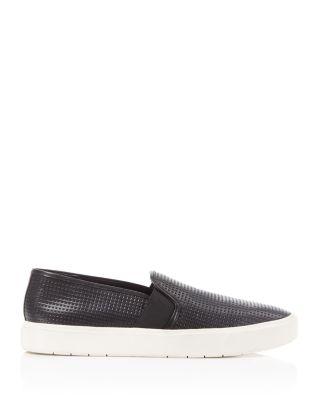 Black Leather Slip On Sneakers Womens