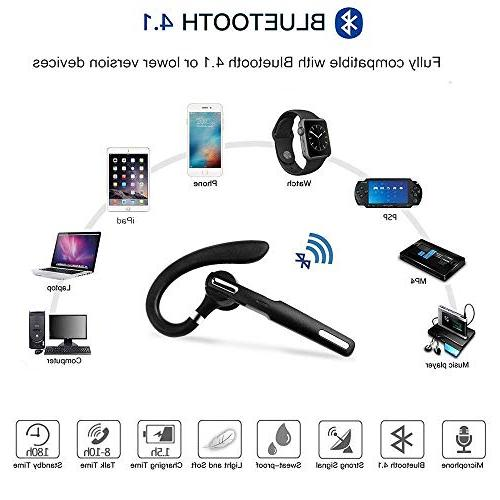 Bluetooth Headset, Wireless Bluetooth Earpiece V4.1 8-10 Hours