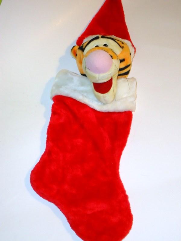 Disney Tigger Christmas Stocking Plush Head Santa Hat