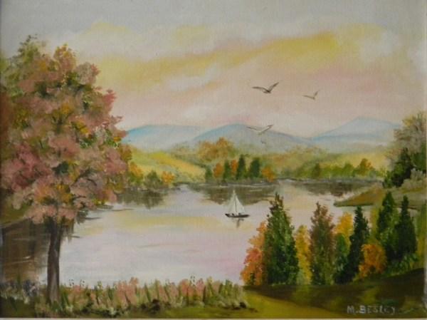 vintage original oil painting landscape