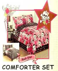 ,PINK COOKIE ROCK STAR FULL COMFORTER SHEET 7PC BEDDING