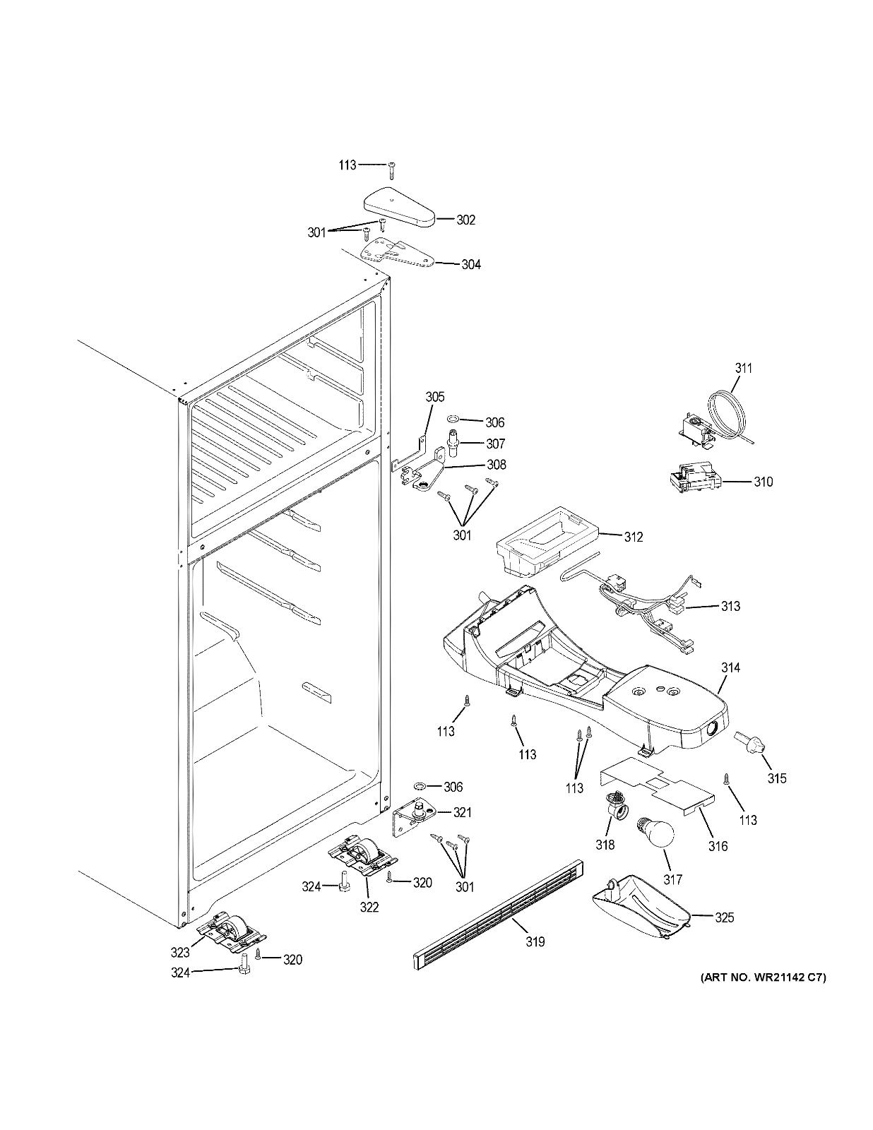 GE Refrigerator : Temperature Control Light Cover