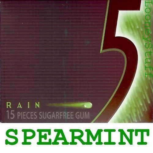 WRIGLEY 5 FIVE RAIN SPEARMINT Sugarfree 20 Packs