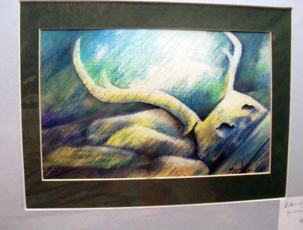 Original Art Drawing Deer Antlers Abstract