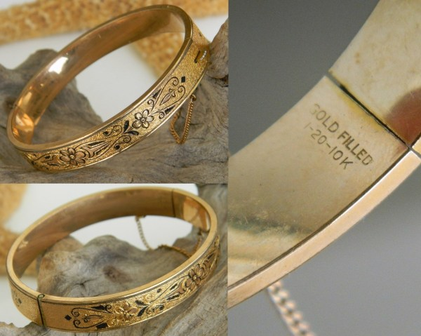 Vintage 10k Gold Filled Hinged Bangle Bracelet Etched Enamel - Bracelets