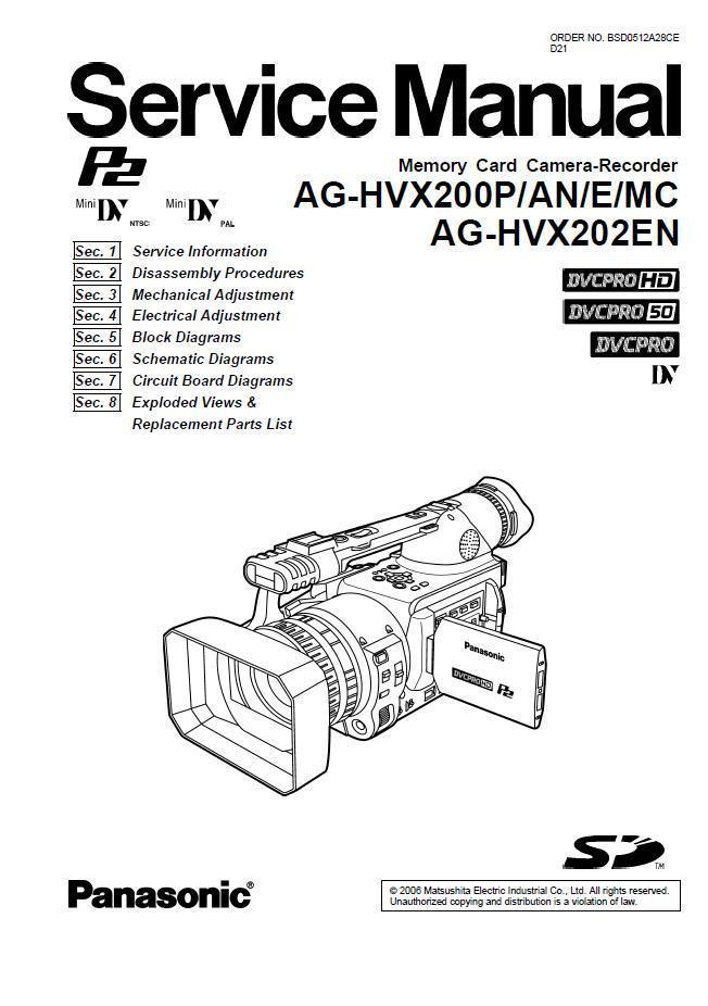 PANASONIC AG-HVX200P AG-HVX200AN SERVICE REPAIR MANUAL