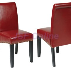 Dining Room Set With Accent Chairs Folding Spectator Of 6 Eco Leather Parsons W Nail