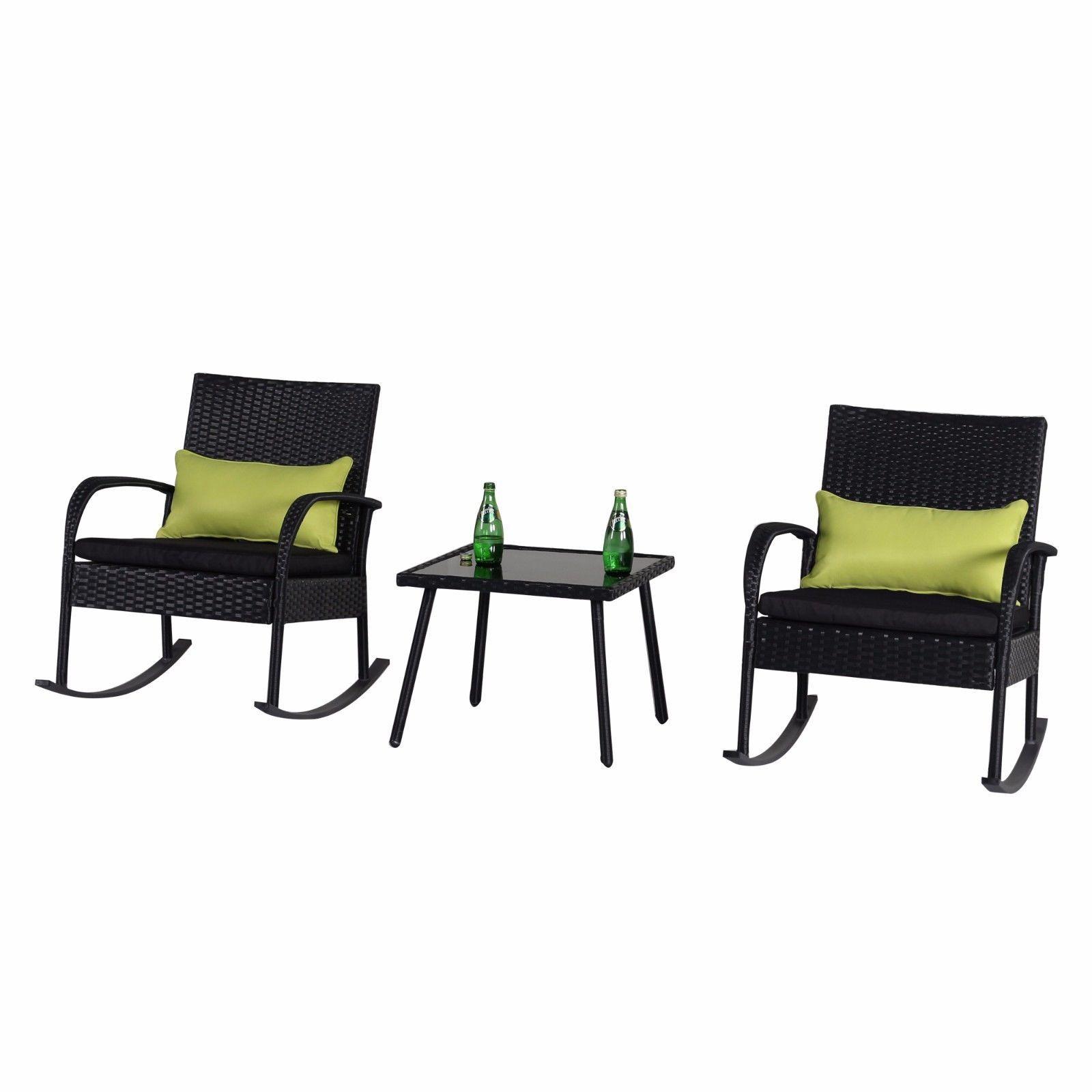 black wicker rocking chair outdoor pompanette fighting 3 pc set bistro
