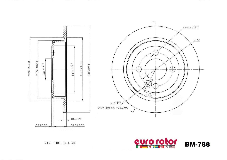 Disc Brake Rotor E Coat Premium Rear Bm 788 Fits 07 15