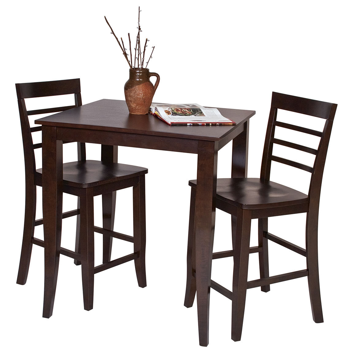 Pub Table With Chairs 3 Pc Set Espresso Wood Bar Bistro Square Pub Table And 2 Pub
