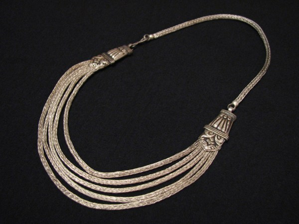 Antique Tribal Sterling Silver Byzantine Woven Multi Chain Bib Choker Necklace - Necklaces
