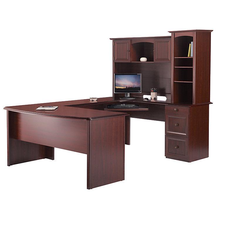 Realspace Broadstreet Contoured UShaped Desk wHutch