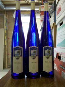German Riesling Wine Tall Blue Bottle In