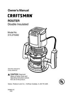 Sears Craftsman Router Owners Manual Many Models Available