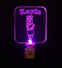 Nurse Night Light, Personalized with Name, Colored LED