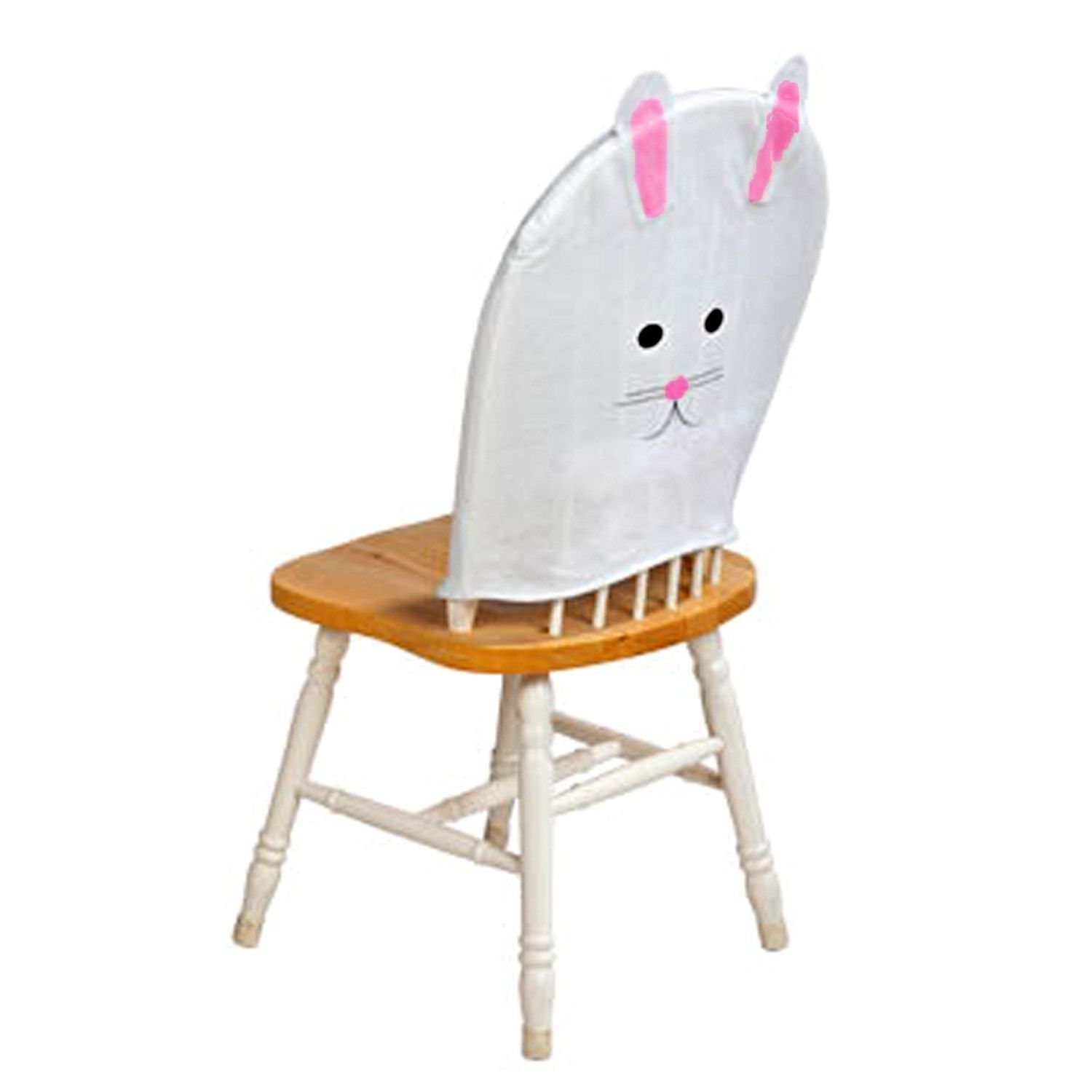 holiday christmas chair covers picnic chairs and tables white pink felt easter bunny rabbit cover spring