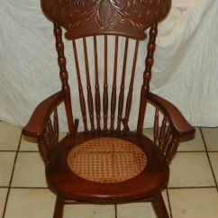 Cane Back Chairs Antique Wedding Chair Covers North East Cherry Carved Seat Rocker Rocking R175