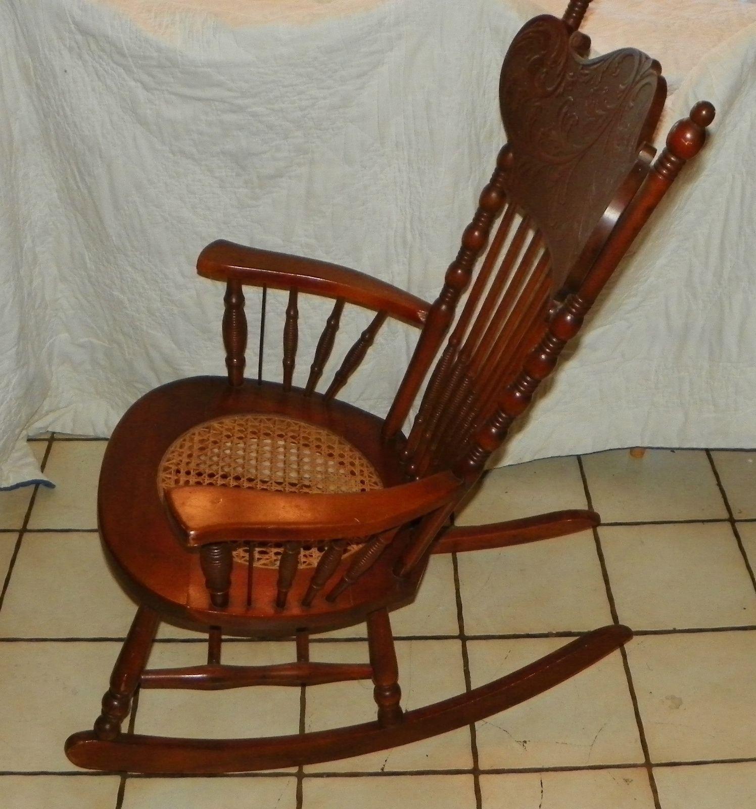 rocking chair cane ergonomic leg circulation cherry carved seat rocker r175
