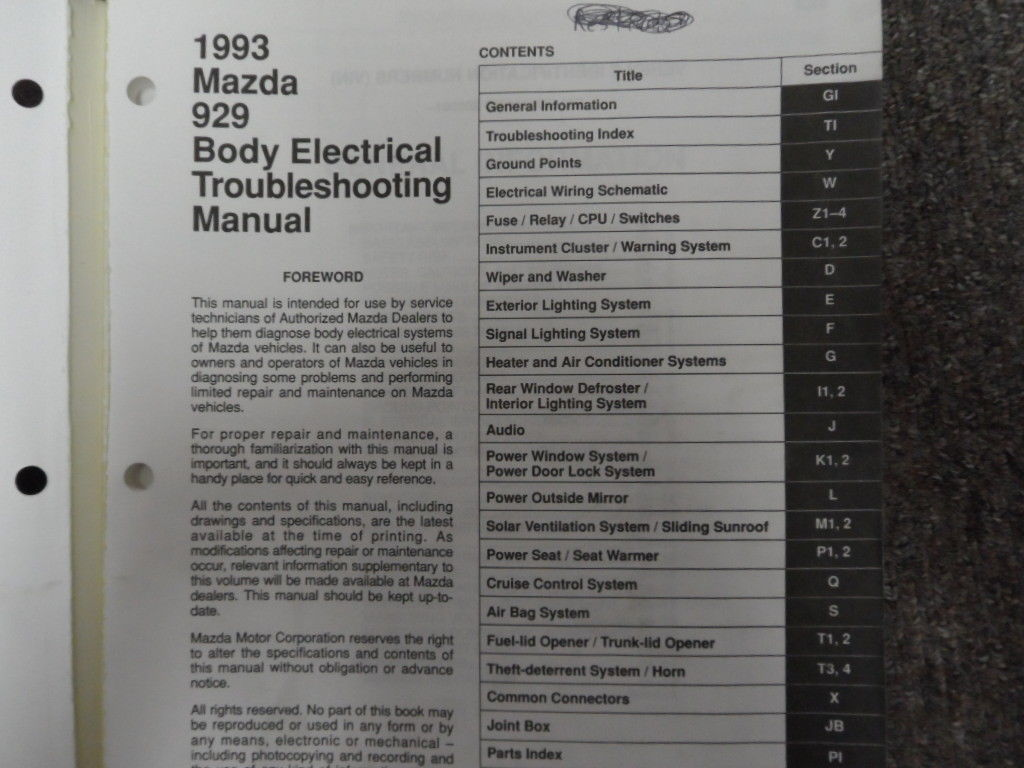 hight resolution of 1993 mazda 929 body electrical troubleshooting service repair shop manual oem