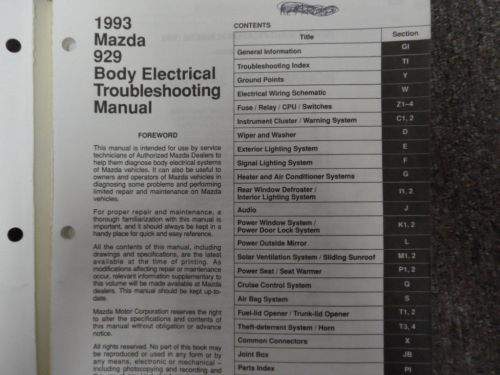 small resolution of 1993 mazda 929 body electrical troubleshooting service repair shop manual oem