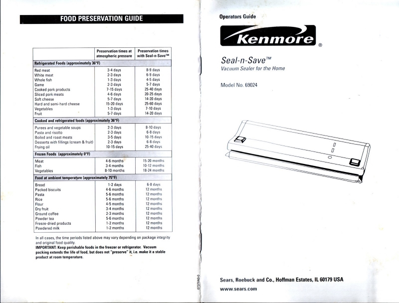 Instructions for Kenmore Seal n Save 69024/FS Compact