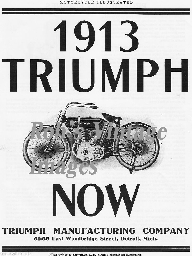 Old Vintage Triumph Motorcycle Antique Ad and 50 similar items