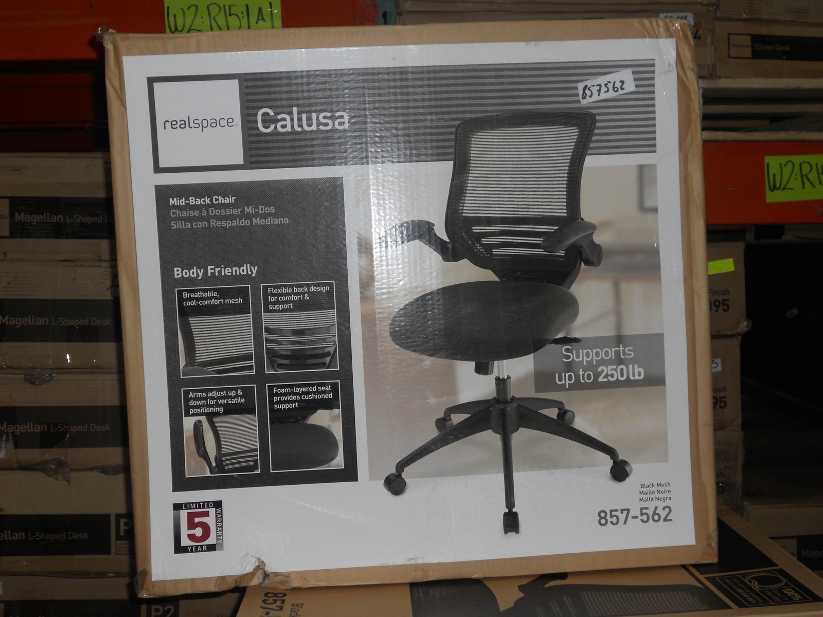 Realspace Chairs Realspace Calusa Mesh Mid Back Chair Black 857562 Chairs