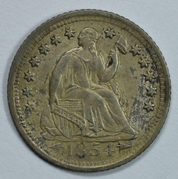 1854 Seated Liberty Circulated Silver Dime Xf
