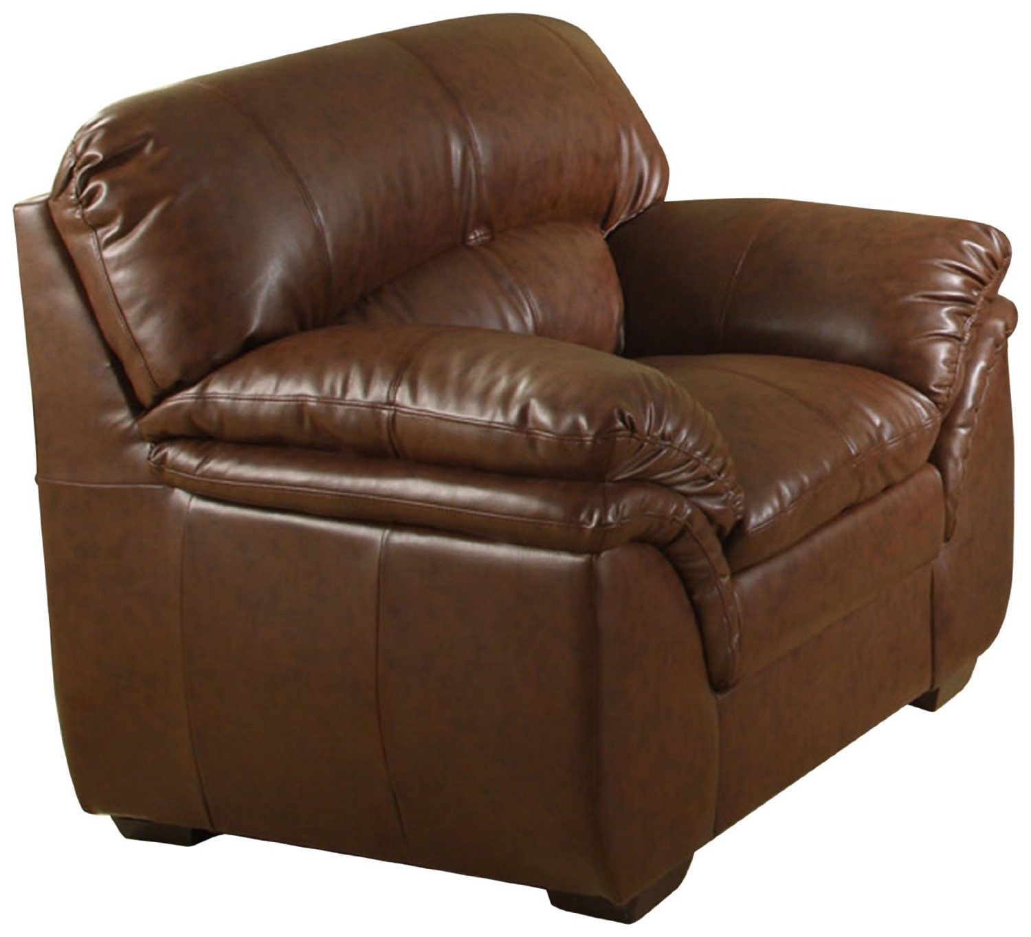 Overstuffed Chair Bonded Leather Chair Furniture Living Room Den Office