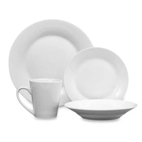 48 Piece Fine Porcelain China White Dinnerware Set Service