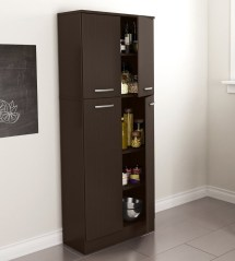 Storage Pantry Cabinet Chocolate Kitchen Cupboard Tall