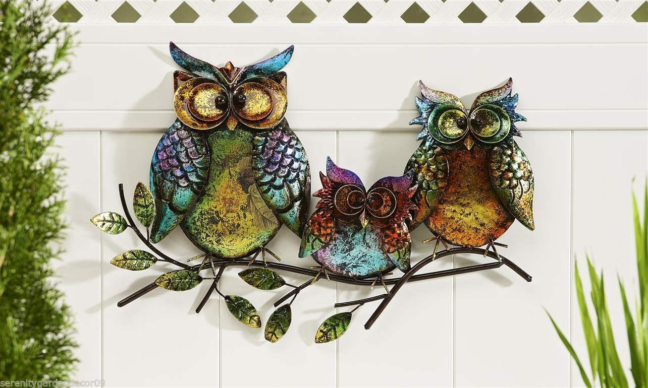 """22.5"""" Long- 3 Owls Perched Atop A Branch Design Iron"""