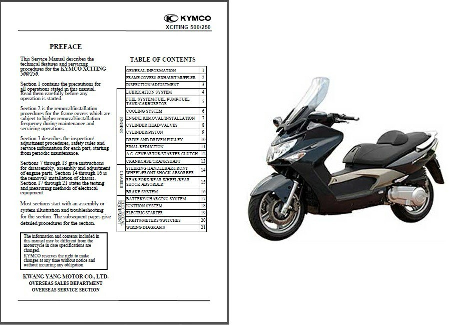 Kymco Xciting 250 & 500 Scooter Service Repair Workshop