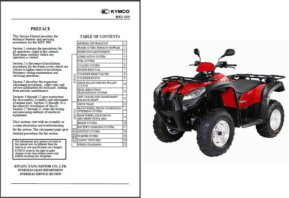 Kymco MXU 500 ATV Service Repair Workshop Manual CD